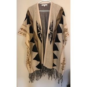 Dreamers Southwestern Print Poncho Style Sweater
